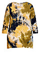Plus Size Tie Dye Cage Top - yellow