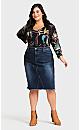 Plus Size Denim Stretch Skirt - dark wash