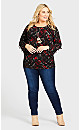 Plus Size ITY Print Cage Top - black red print