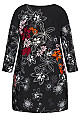 Plus Size Lily Placed Tunic - black lily