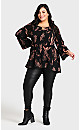 Plus Size Pleater Top - black feather