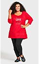 Plus Size Split Back Tunic - red