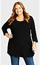Plus Size Pocket Seam Tunic - black