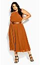 Halter Pleat Dress - caramel