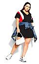 Stripe Charm Dress - black