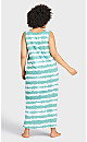 Plus Size Print Maxi Sleep Dress - teal tie dye