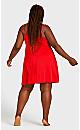 Plus Size Lace Trim Chemise - red
