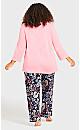 Plus Size 3/4 Sleeve Sleep Top - pink
