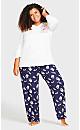Plus Size 3/4 Sleeve Sleep Top - white