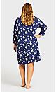 Plus Size Print Sleep Shirt - blue popcorn