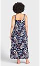 Plus Size Lace Print Maxi Sleep Dress - navy foliage