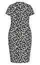 Plus Size Donna Print Dress - baroque mono