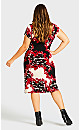 Plus Size Donna Print Dress - red scroll