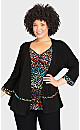 Plus Size Abstract Duet Top - multi jigsaw