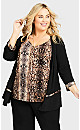 Plus Size Abstract Duet Top - snake