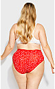 Plus Size Print Cotton Hi Cut Brief - red heart