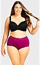 Plus Size Fashion Cotton Full Brief - magenta