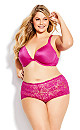 Plus Size Lace Cheeky Brief - magenta