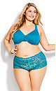 Plus Size Lace Cheeky Brief - teal