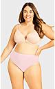 Plus Size Fashion Cotton Hi Cut Brief - ballet pink