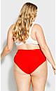 Plus Size Fashion Cotton Hi Cut Brief - red
