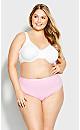 Plus Size Fashion Cotton Hi Cut Brief - pink