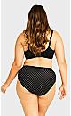 Plus Size Fashion Cotton Lace Hi Cut Brief - black spot