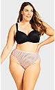 Plus Size Fashion Cotton Lace Hi Cut Brief - pink spot
