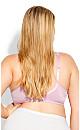 Plus Size Fashion Lace Balconette Bra - pink lilac