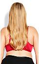 Plus Size Fashion Lace Balconette Bra - scarlet