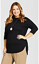 Plus Size 3/4 Sleeve Popover Sweater - black