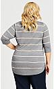 Plus Size 3/4 Sleeve Popover Sweater - gray