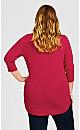 Plus Size 3/4 Sleeve Popover Sweater -  fuschia