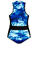 Plus Size Color Block 1 Piece blue