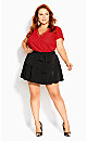 V Lace Trim Top - red