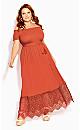 Crochet Hem Maxi Dress - tangerine