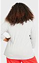 Plus Size Print 3/4 Sleeve Sleep Top - gray