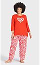 Plus Size Print 3/4 Sleeve Sleep Top - red