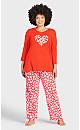 Plus Size Print Sleep Pant - red shadowheart