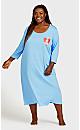 Plus Size Print 3/4 Sleeve Sleep Shirt - blue