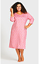 Plus Size Print 3/4 Sleeve Sleep Shirt - heart stripe