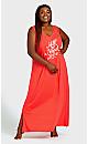 Plus Size Print Maxi Sleep Dress - red