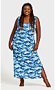 Plus Size Print Blues Maxi Sleep Dress - blue camo