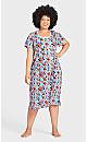 Plus Size Floral Short Sleeve Sleep Shirt - blue floral