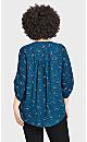 Plus Size Button Conversation Top - blue