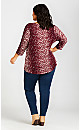 Plus Size Twist Stafford Top - berry print