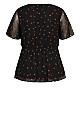 Kimono Spot Top - black