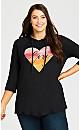 Plus Size Heart Hoodie - black