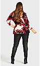 Plus Size Status 3/4 Sleeve Top - red print