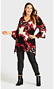 Plus Size Scroll Necklace Tunic - red print